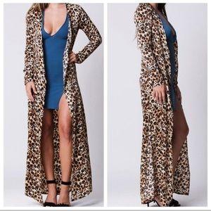 NWT Lux LA Leopard Duster Cardigan